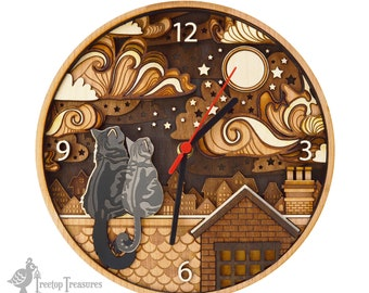 Rooftop Cats Layered Wooden Clock, Personalised Cat Night Sky Wooden Clock, Lasercut wooden clock, Tabby Cat Clock, Cats on Rooftops Clock