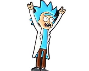 Rick And Morty Enamel Pin Badge Tiny Hands Up Rock Young