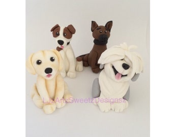 eb41a44b0112 4 x 3D Edible Puppy Dog Cake Topper Fondant Gum Paste cake decoration sugar  Worldwide Shipping