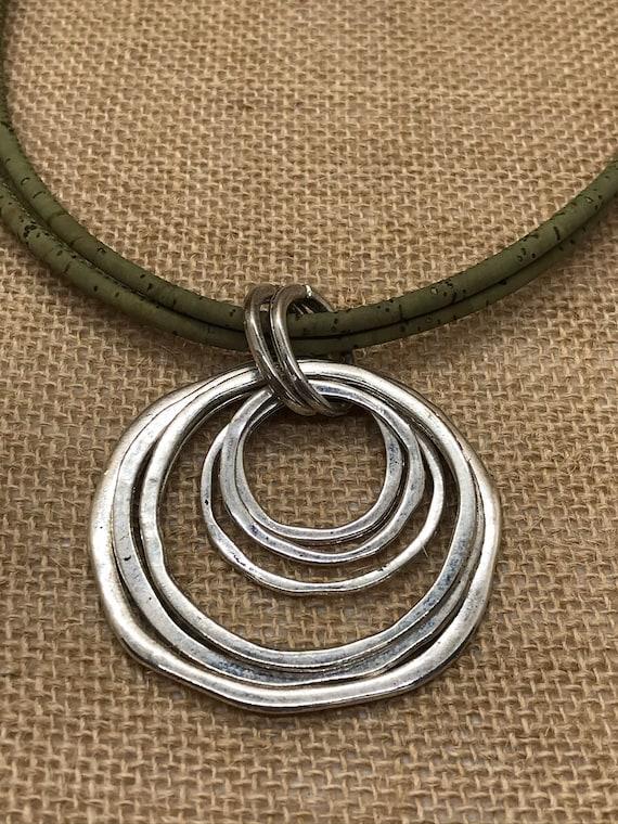 Brown cork with Original Silver round pendant handmade women cork necklace N-195-5