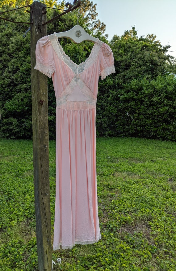 1940s Pink Nightgown Slip Dress