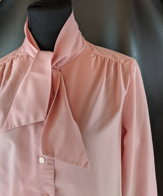 70s Vintage Pussy Bow Pink Blouse