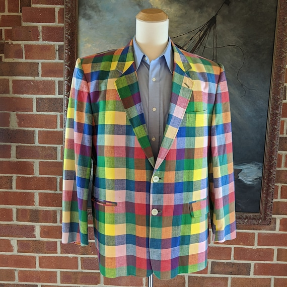 80s/90s Bermuda Plaid Summer Rainbow Blazer