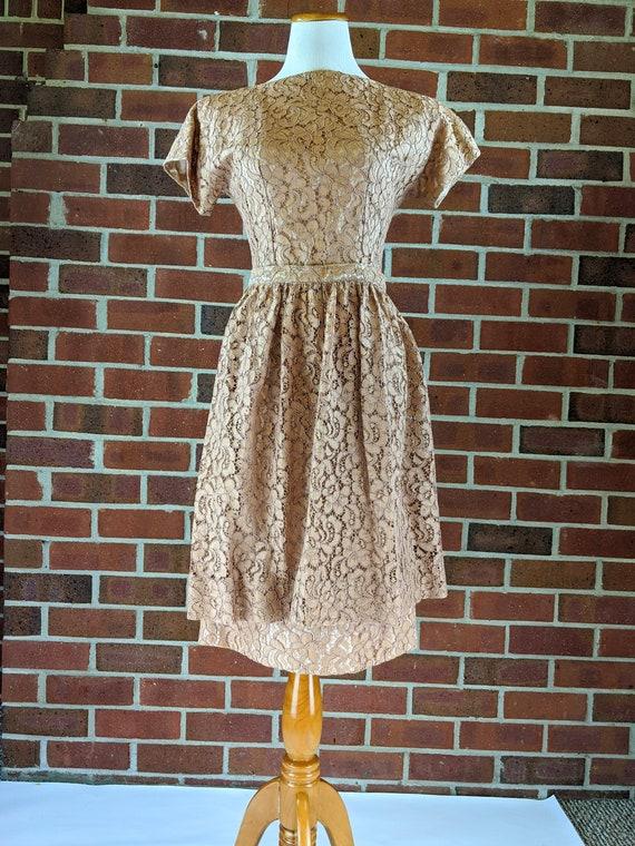 50s Lace Dress Detachable Apron Rose Gold