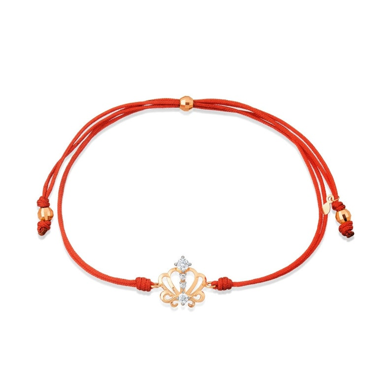 585/14Ct Rose Gold Bracelet on red thread with Cubic Zirconia