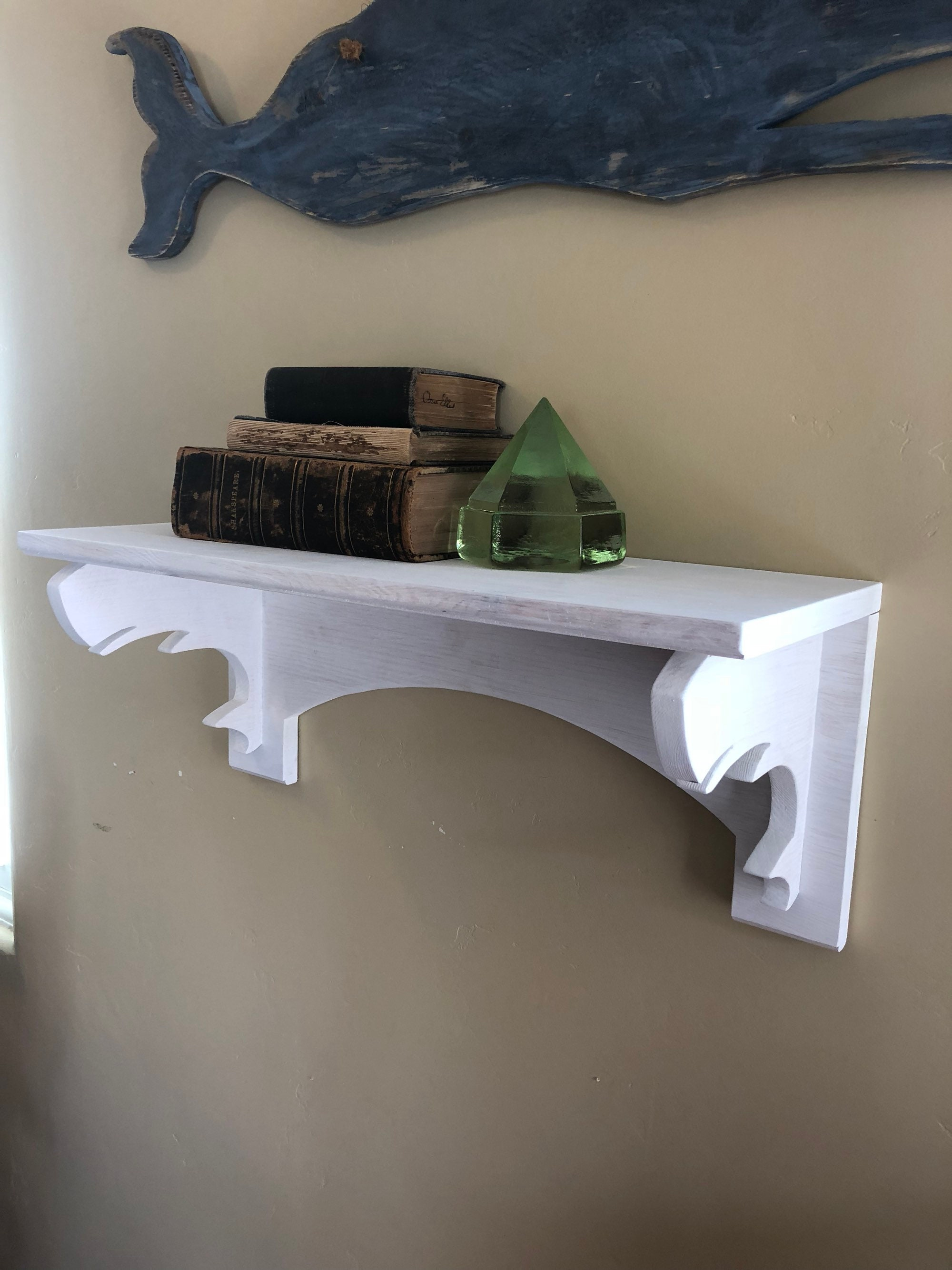 Wooden Whale Book Shelf Mantle Display Shelf Vintage