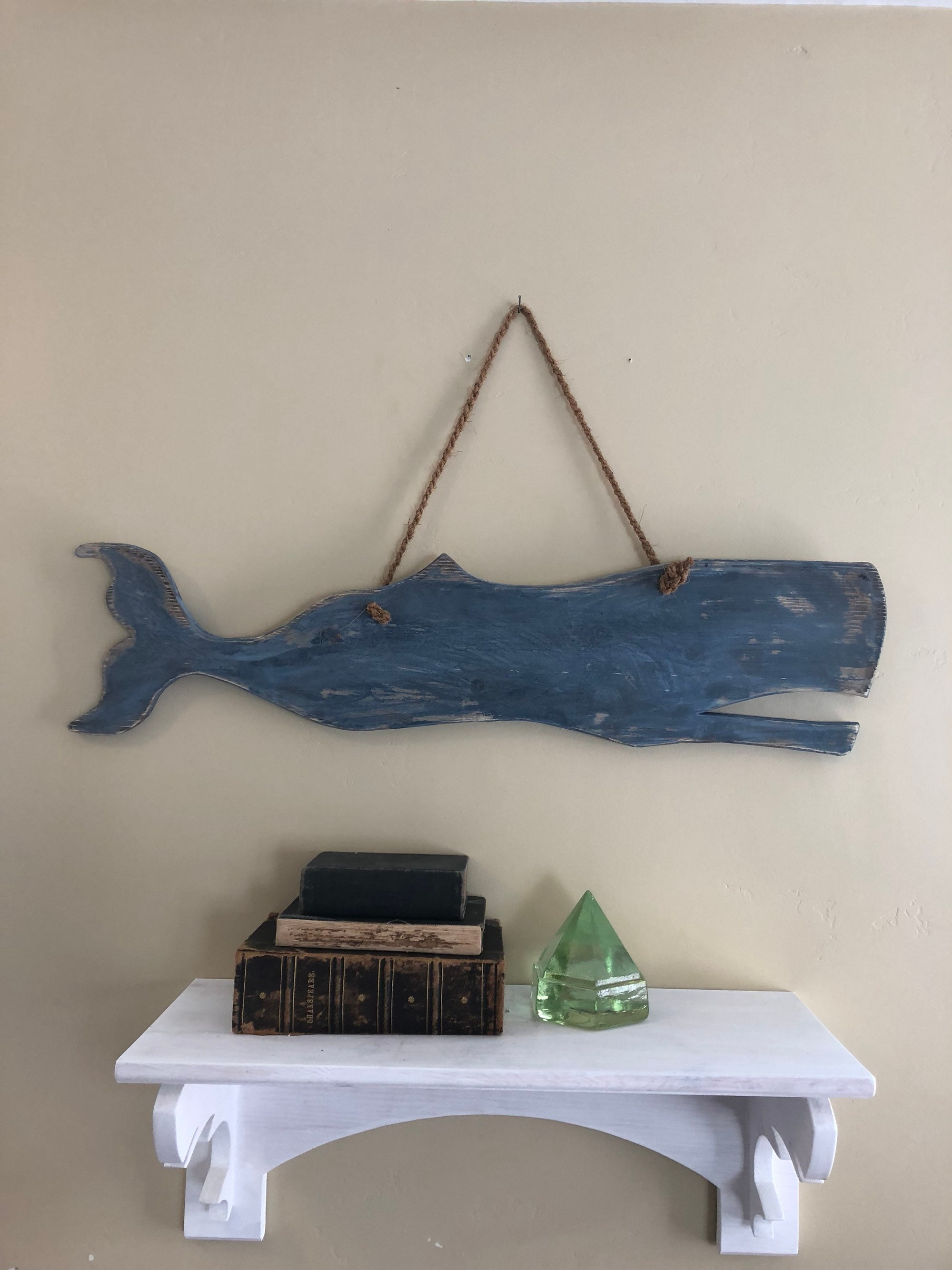 33 Wooden Whale Hanging Wall Sculpture Nautical Decor