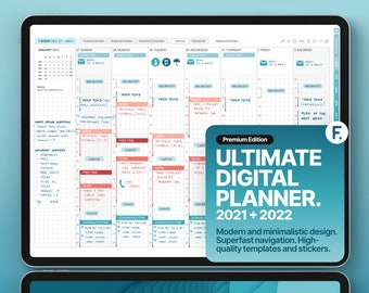 Ultimate Digital Planner 2021 + 2022, GoodNotes and Notability Templates, Hyperlinked PDF, Turquoise Color