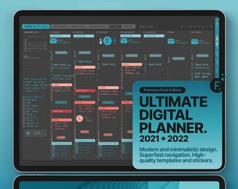 Dark Mode Ultimate Digital Planner 2021 + 2022, GoodNotes and Notability Templates, Hyperlinked PDF, Turquoise Color