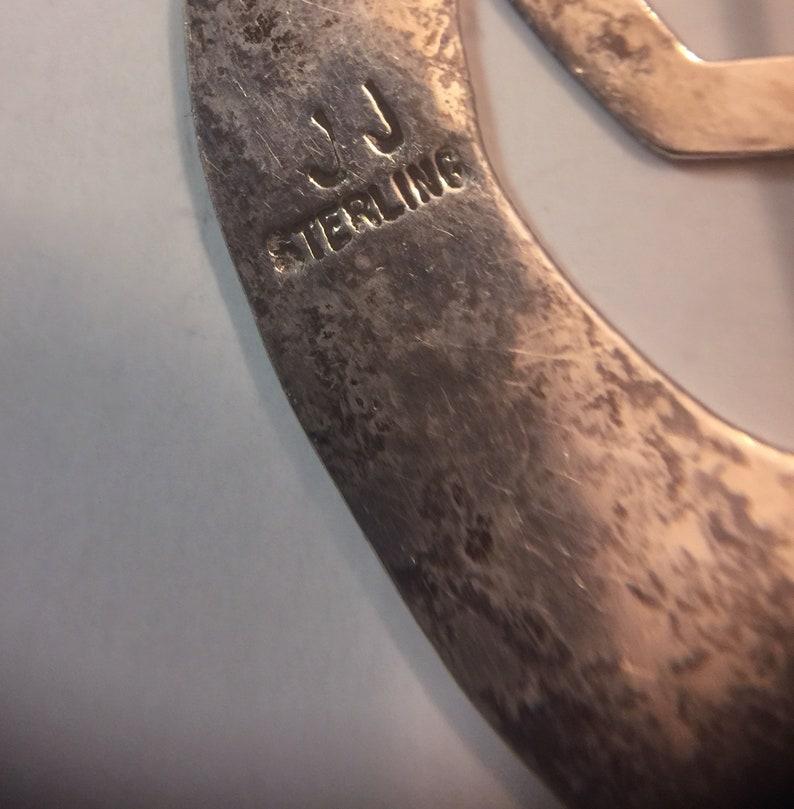 Navajo Sterling Silver Kokopelli Johnny Johnson JJ Hand Hammered Tooled Brooch Native American