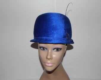 00ee36e659d38 Jan Leslie Vintage Blue Helios Faux Fur Pillbox Hat