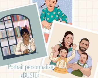 Digitally made BUST portrait, wall decoration