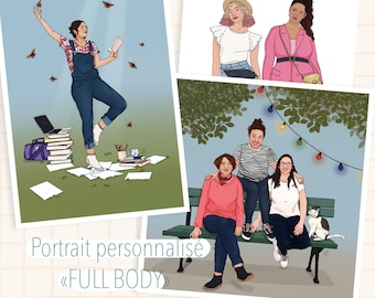 Digitally made FULL BODY portrait, wall decoration.