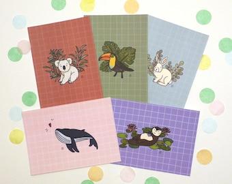 Lot of 5 Postcards A6 illustration animals theme