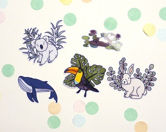Lot of 5 stickers ANIMAUX glossy vinyl finish
