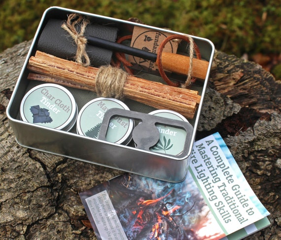 Survival Bushcraft Fire Starting Kit Ferrocerium Rod Flint Steel Char Cloth...