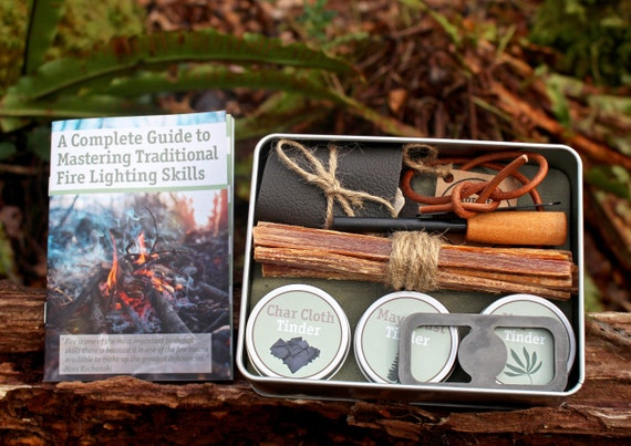 Bushcraft Char Cloth fire lighting material for use with flint and iron kit.