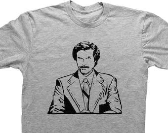 f61588ad Ron Burgundy Shirt, Anchorman Inspired Tee, RON BURGUNDY, funny t shirt, movie  shirt, unisex grey Shirt, Shirt for Him, Gift for him, funny