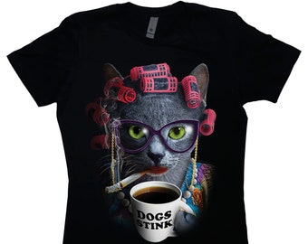 a30aba14 CAT LADY Women's Boyfriend T-Shirt, Wacky Shirt, Graphic Tee, Cat, Coffee,  Glasses, Funny, Weird, Dogs Suck, Black, Crew Neck, Cigarette
