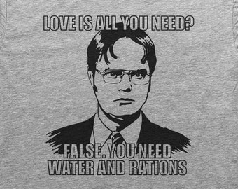 Vintage Retro T-Shirt False Love is All You Need You Need Water and RATIONS