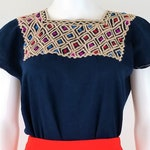 Embroidered Mexican Blouse, Boxy-Cut Embroidered Blouse