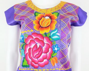 Embroidered Mexican Blouse, Floral Huipil Oaxaca Blouse, Tehuana, Chain-Stitched.