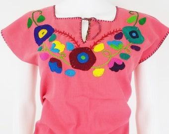 Embroidered Mexican Blouse, Floral Embroidered Blouse