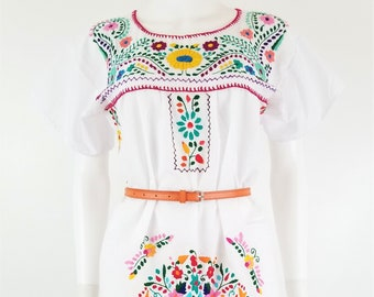 Embroidered Mexican Dress, Floral Embroidered Fit-Flare Dress Handmade