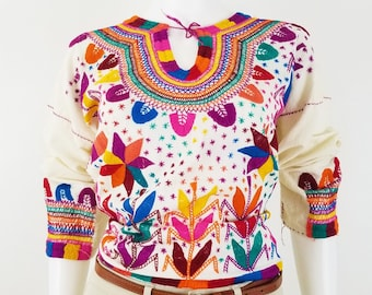 Embroidered Mexican Blouse, Corn Mazorca Embroidered Blouse Handmade