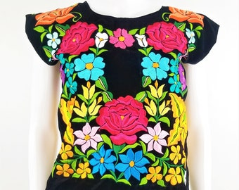 Embroidered Mexican Blouse, Velvet Floral Traditional Huipil Oaxaca Blouse, Tehuana