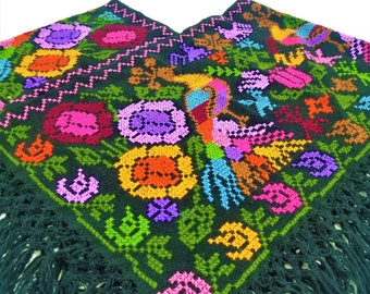 Embroidered Mexican Poncho, Mexican embroidery Poncho made by artisans, Floral Mexican Poncho