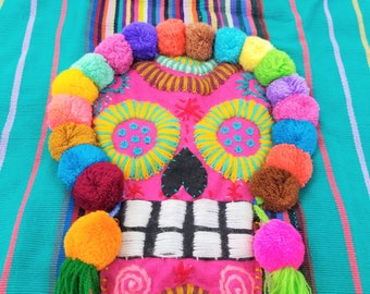 Floral Catrina Embroidered Handbag Mexican Handmade Colorful, Mexican Embroidered Clutch