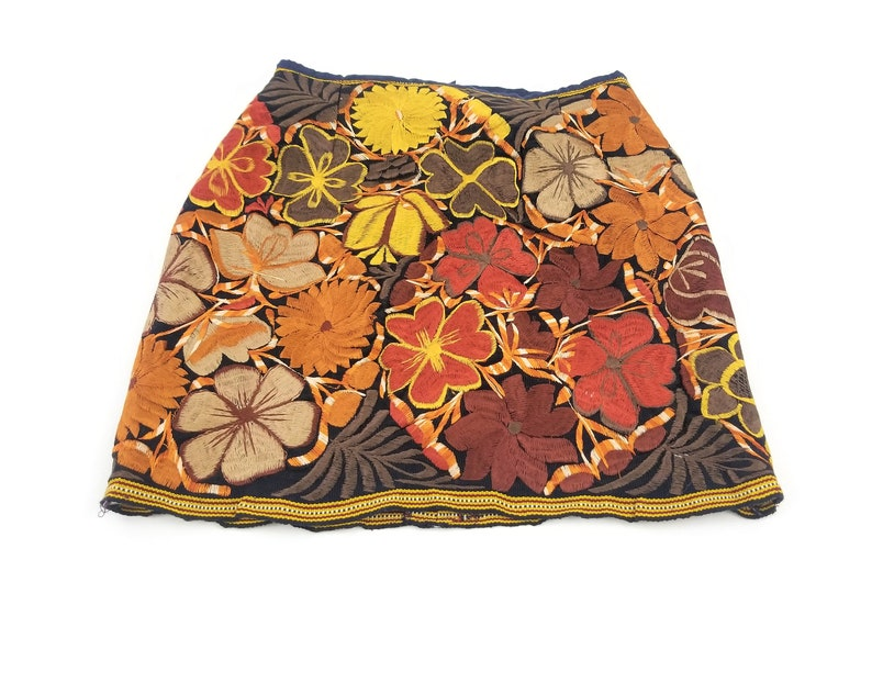 Short Mexican Skirt Embroidered Mexican Skirt Floral image 0