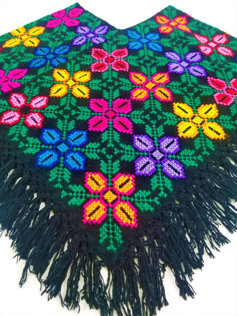 Embroidered Mexican Poncho Mexican embroidery Poncho made by Model C