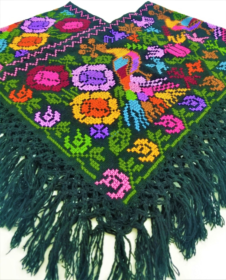 Embroidered Mexican Poncho Mexican embroidery Poncho made by Model A