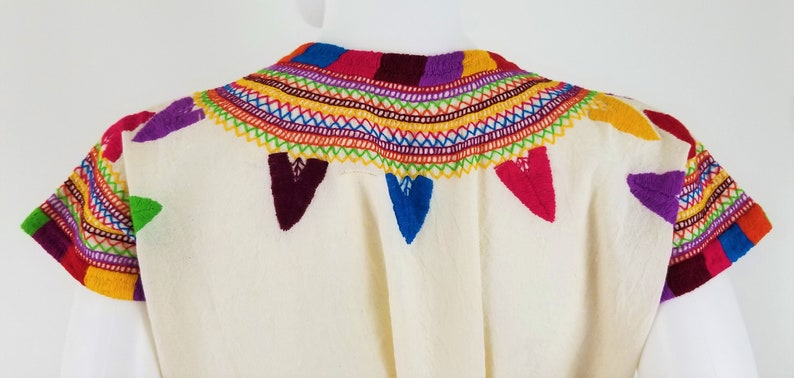 Corn Mazorca Embroidered Blouse Handmade Beige Colorful Embroidered Mexican Blouse