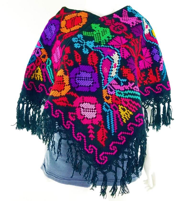 Embroidered Mexican Poncho Mexican embroidery Poncho made by image 0
