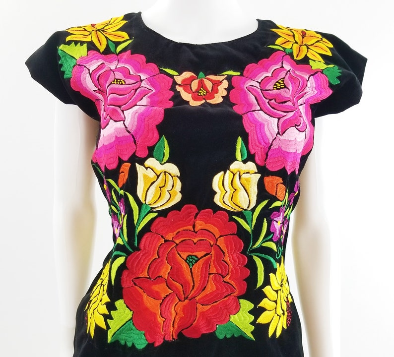 Embroidered Mexican Blouse Velvet Floral Traditional Huipil image 0