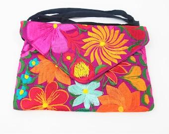 Handmade Pompom, Floral Embroidered Handbag Colorful