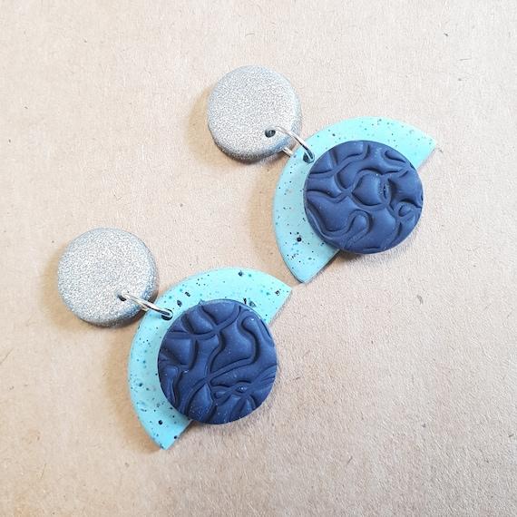 Polymer Clay lightweight Artdeco dangle earrings