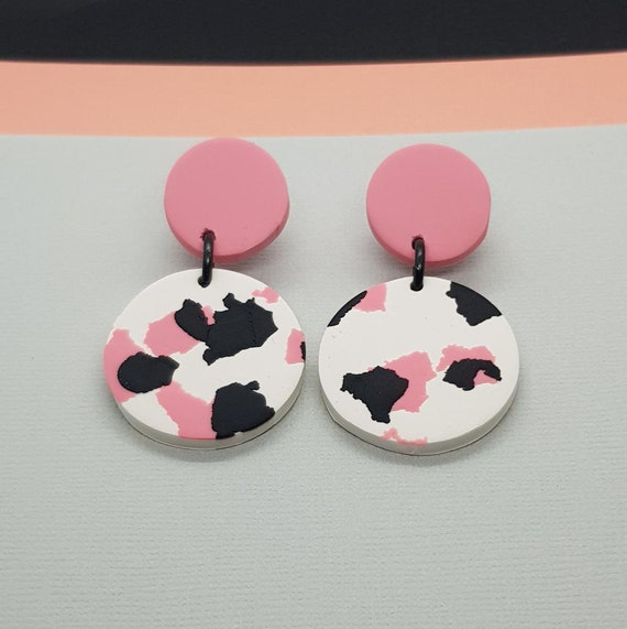 Clay Jewelry Dangle Earrings Polymer Clay Earring Statement Earrings Clay Earrings Pink Earrings Gifts for Her Clay Jewellery