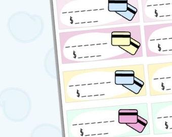 Bill due credit card budget planner stickers ECLP vertical