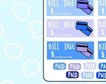 Bill Due / Credit Card/ Payment Planner Stickers
