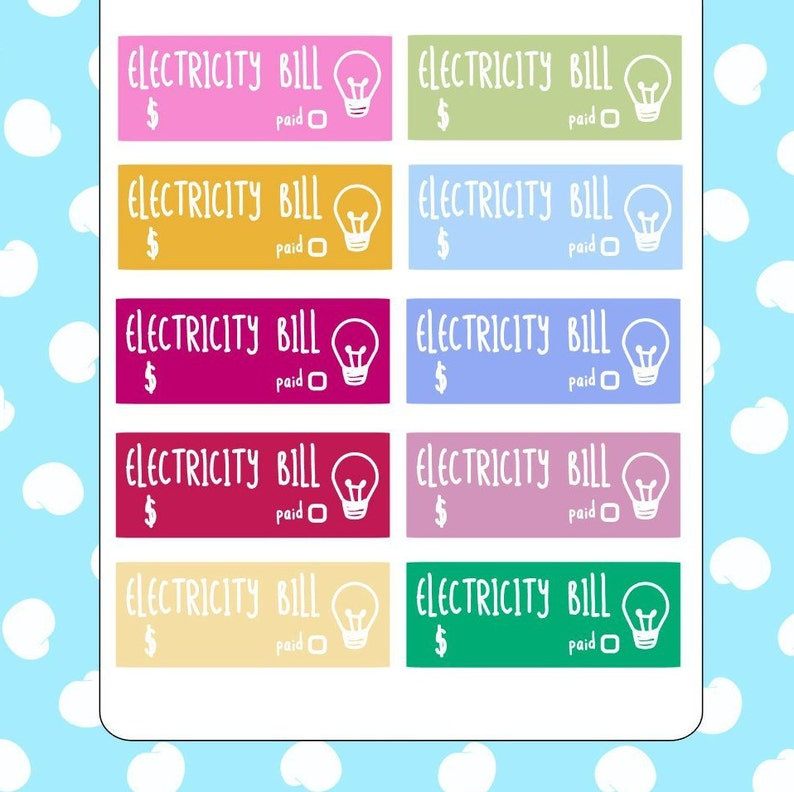 Electricity bill reminder stickers // Planner stickers image 0