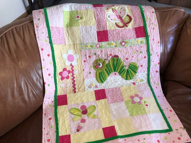 Baby girl quilt pattern going buggy cute animal themed etsy