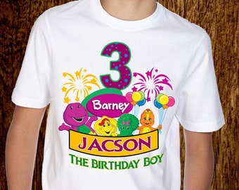 Barney And Friends Personalized T Shirt Customize NAME AGE Tee Designs Toddler Youth Adult Sizes Birthday Party Custom A054