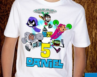 7c15b32b11b6 Teen Titans Go Birthday Tshirt Personalize Custom Youth Shirt - A043