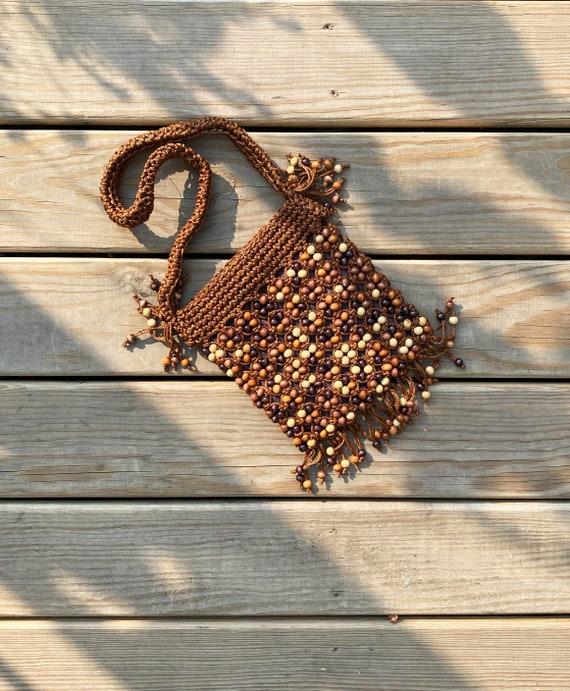Vintage 1970s macrame wood bead fringe purse   70s