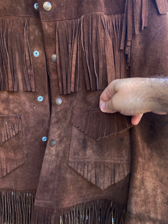 Vintage Leather Fringed Western Pioneer Jacket si… - image 4