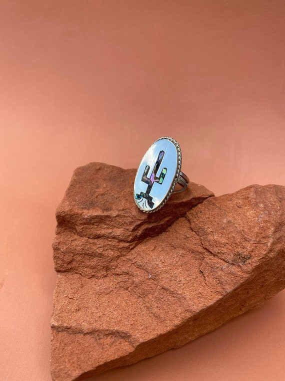 Sterling silver Taxco abalone inlay cactus ring |